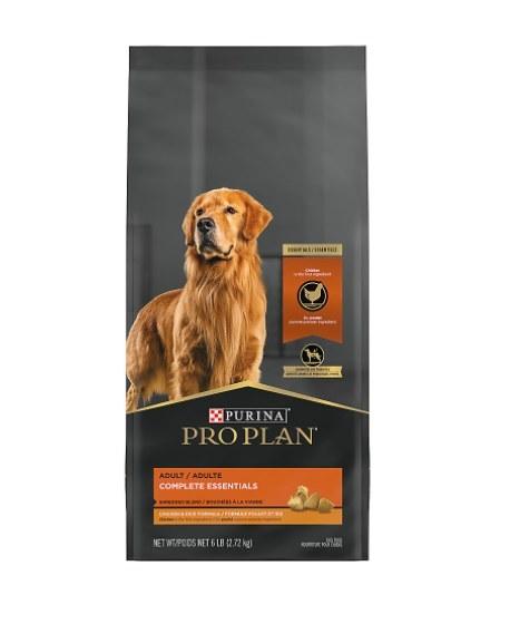 The bag of dry dog food pro plan