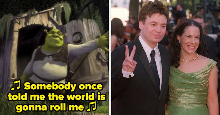 "The opening of ""Shrek""; Mike Myers and Vicky Jenson at the Venice Film Festival premiere of ""Shrek"""