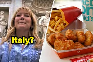 """Hilary Duff as Lizzie McGuire in the movie """"The Lizzie Mcguire Movie"""" and an order of spicy chicken nuggets and fries from McDonald's."""