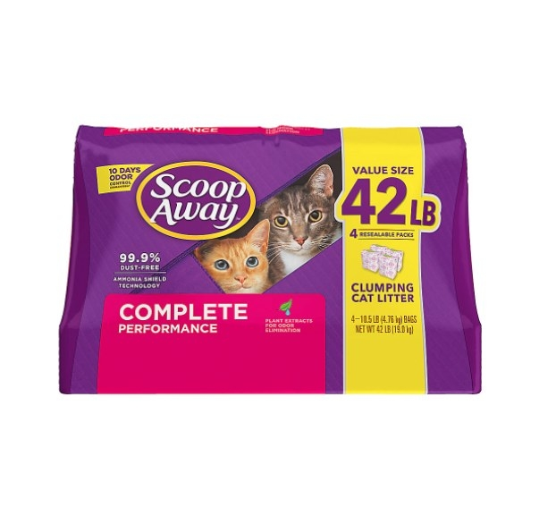 The bag of cat clumping litter in purple packaging