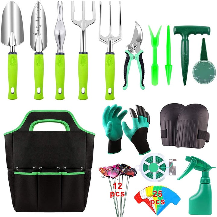 the array of green gardening tools