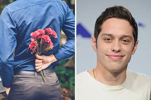 On the left, someone holding some roses behind their back, and on the right, Pete Davidson