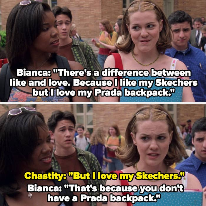 "Chastity and Bianca talk about the difference between like and love and Bianca says ""I like my Skechers but I love my Prada backpack"""
