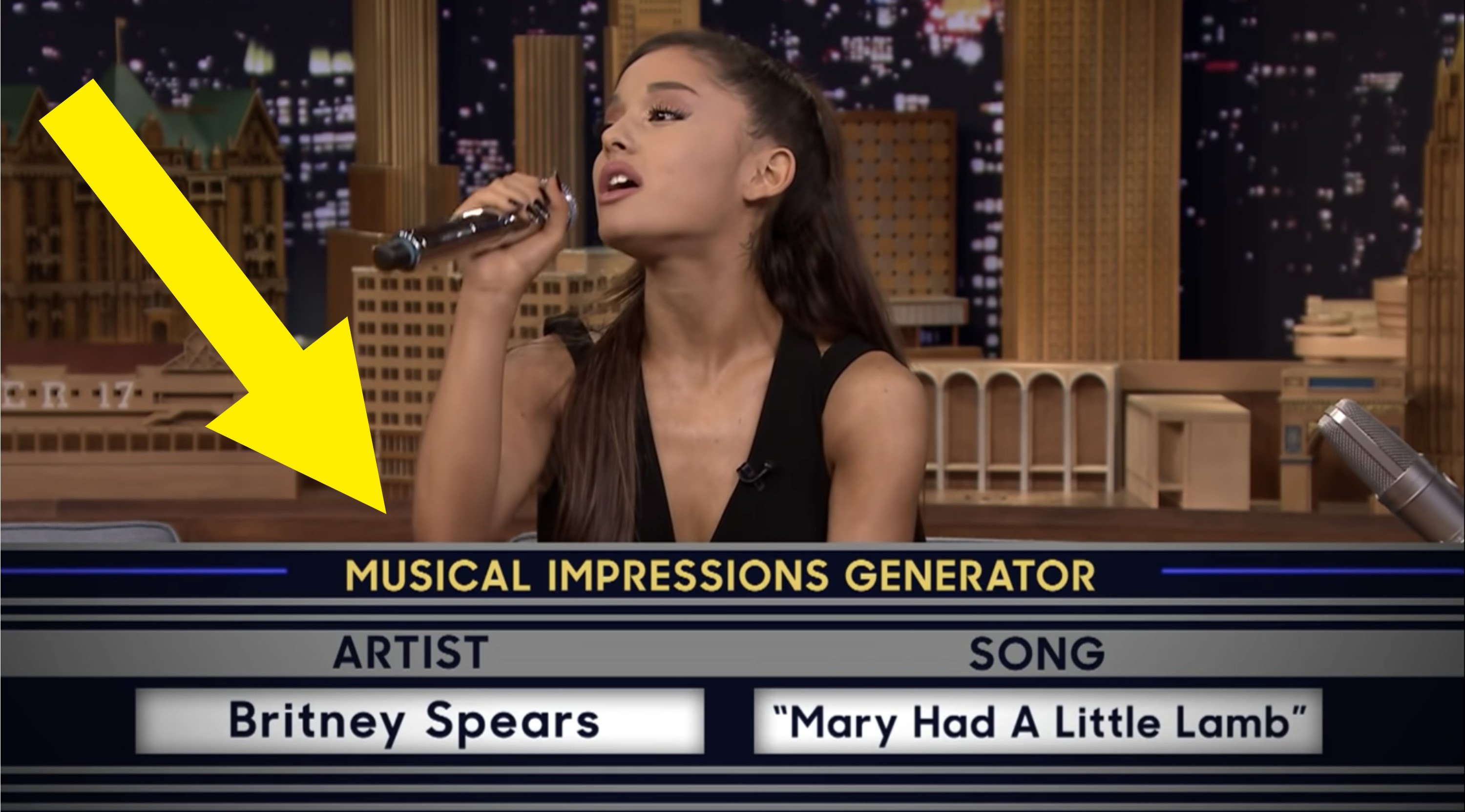 An arrow pointing towards information at the bottom of the screen during a Jimmy Fallon segment