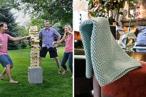 to the left: an outdoor oversized jenga set, to the right: a hand knit blanket