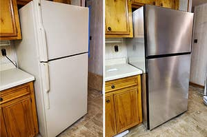 before: white fridge and after: the same fridge, now looking like it's stainless steel