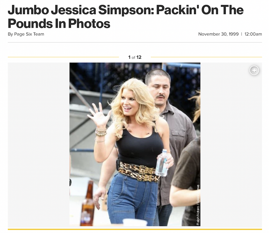 An article with the image of Jessica Simpson waving at a concert, and the headline: Jumbo Jessica Simpson Packin' On The Pounds