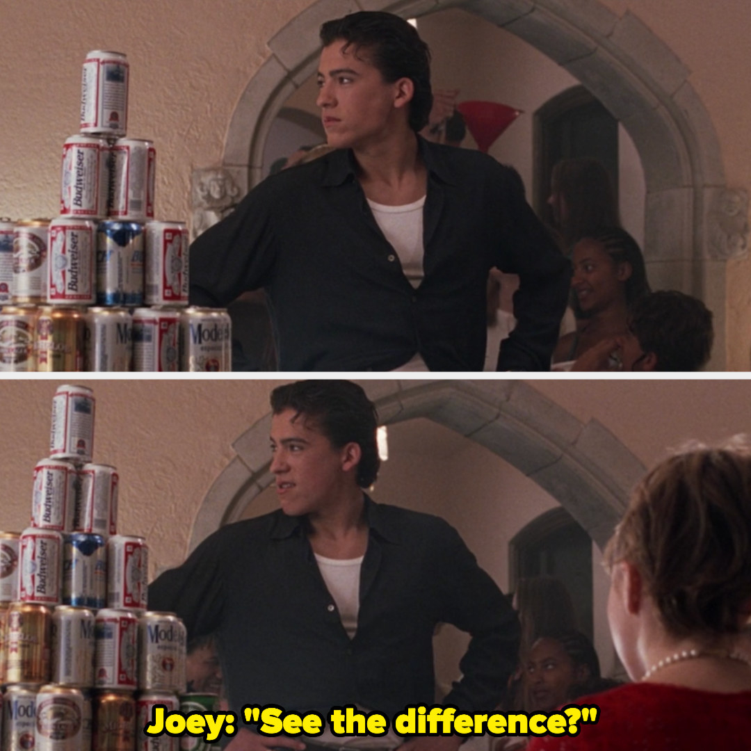 "Joey Donner posing and then saying ""see the difference?"""