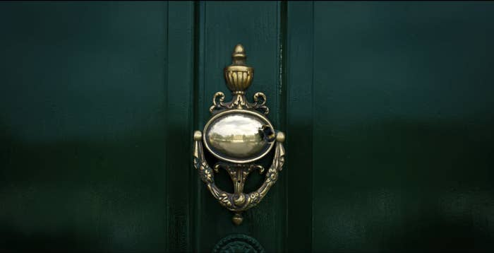 A closeup of a door knocker