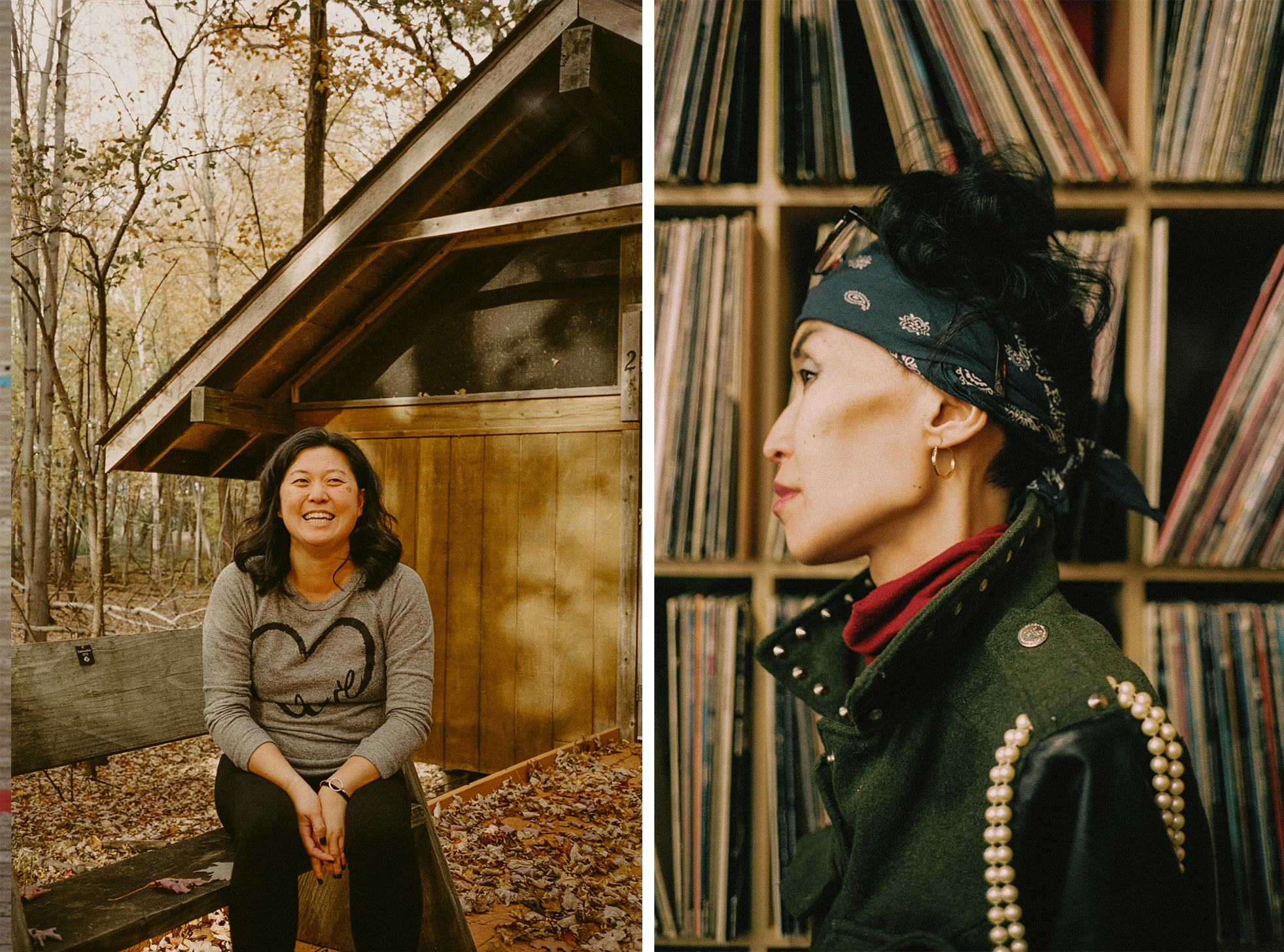 A woman laughs in the woods, and a woman wearing a bandana in front of a record collection