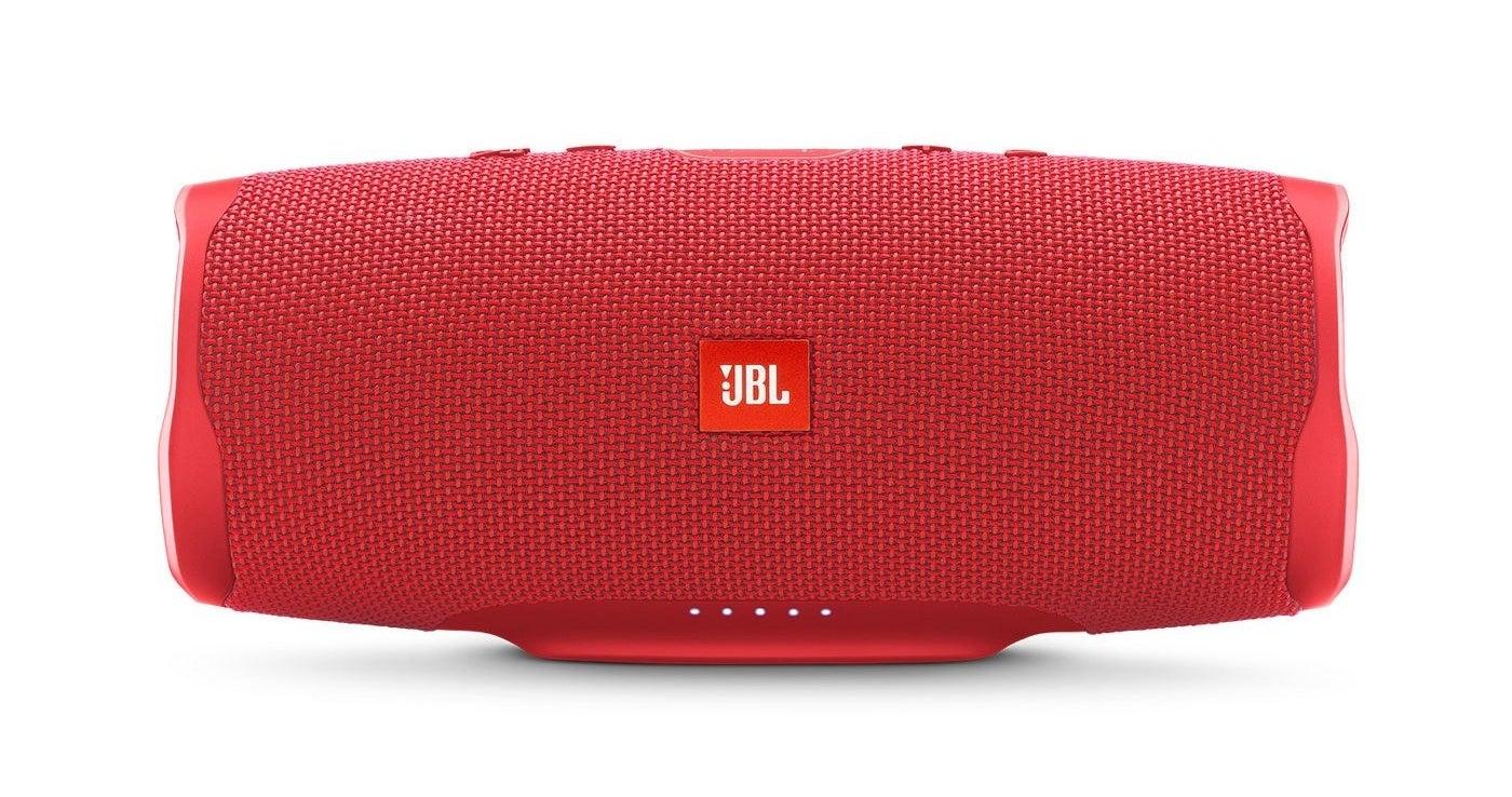 red JBL wireless speaker