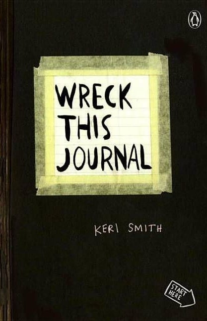 black cover of wreck this journal by keri smith