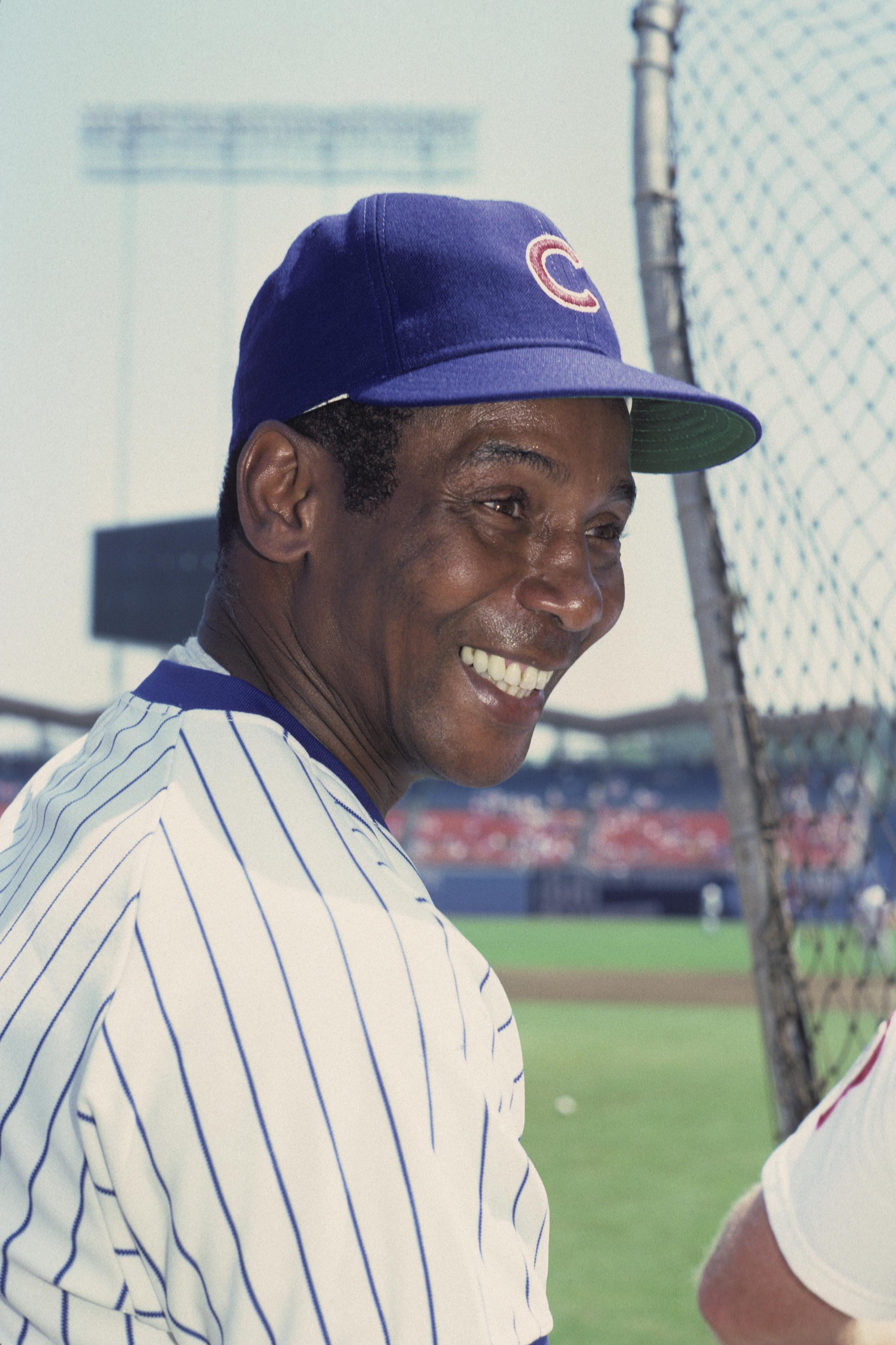 Ernest Banks smiling in a Cubs uniform