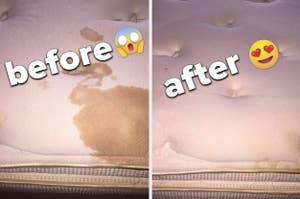 before and after of a stained mattress then clean mattress