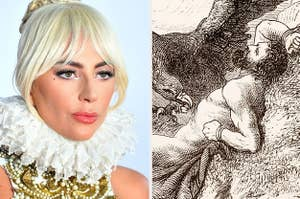 Side-by-side images of Lady Gaga and Prometheus