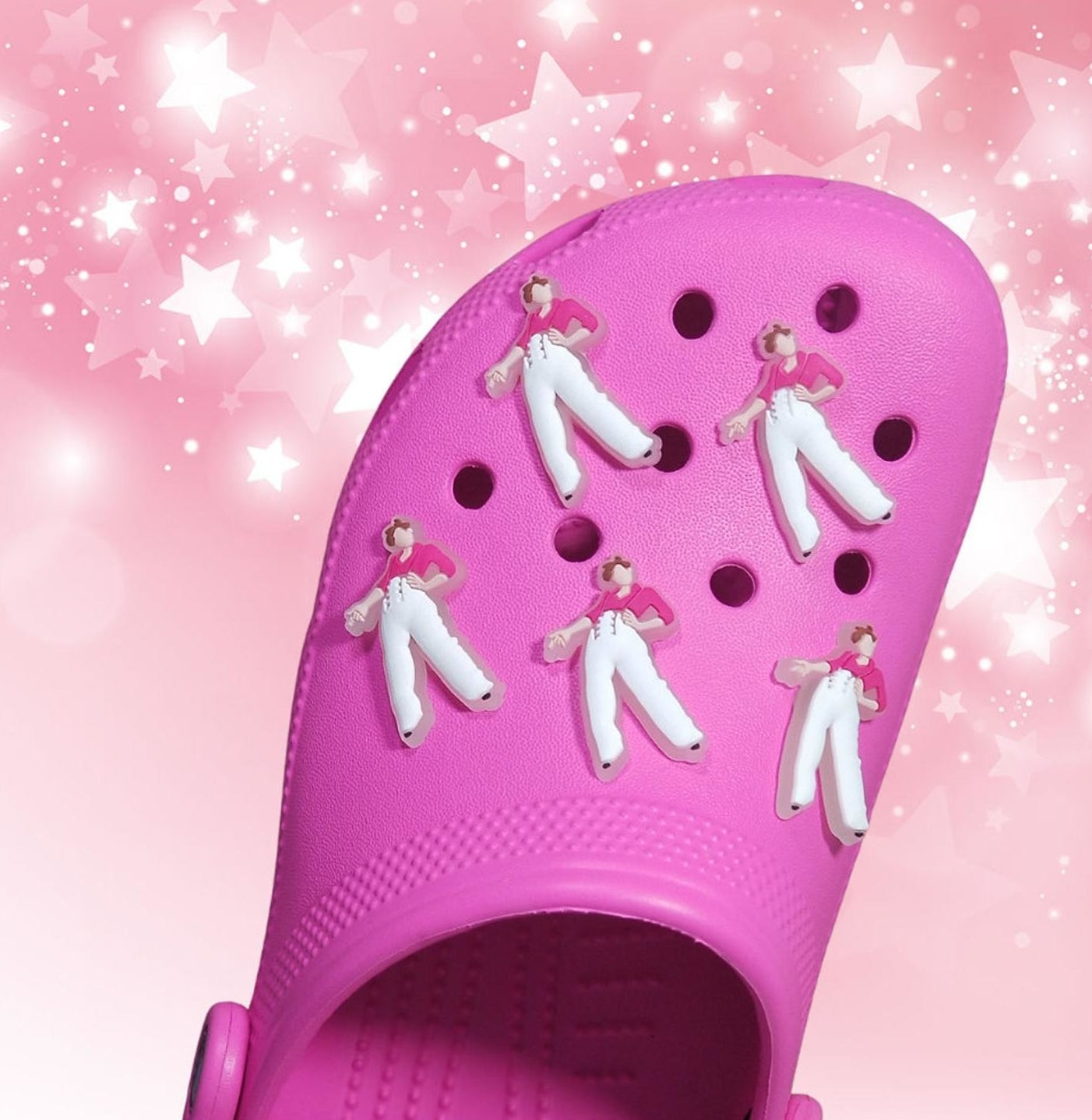 harry styles charms on croc shoe