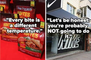 A bag of Hot Pockets; the Nike storefront