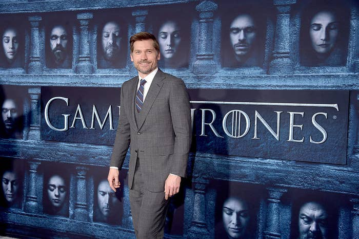 "Nikolaj Coster-Waldau wears a suit the premiere of HBO's ""Game Of Thrones"" Season 6"