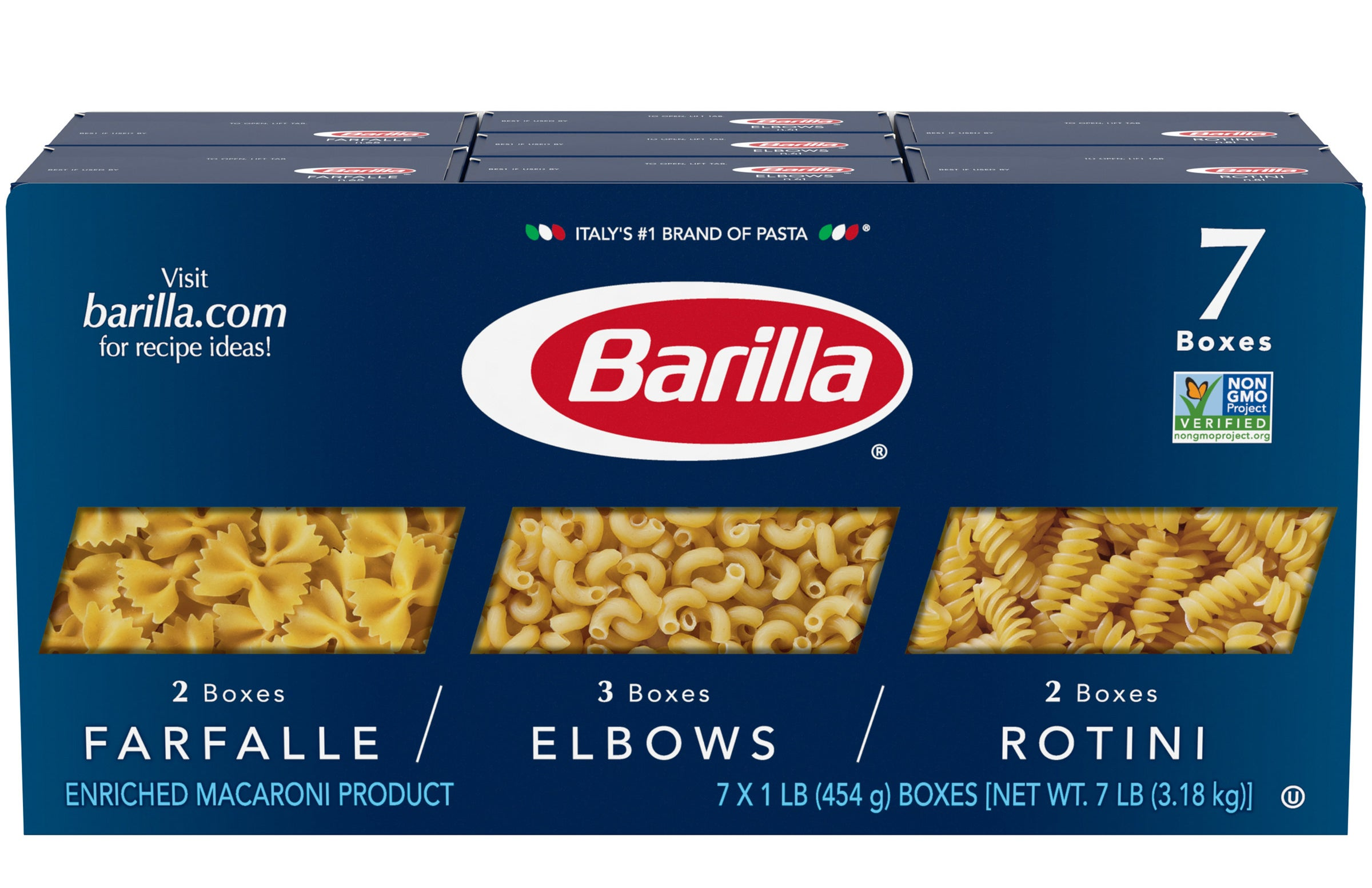 the large blue pack of pasta