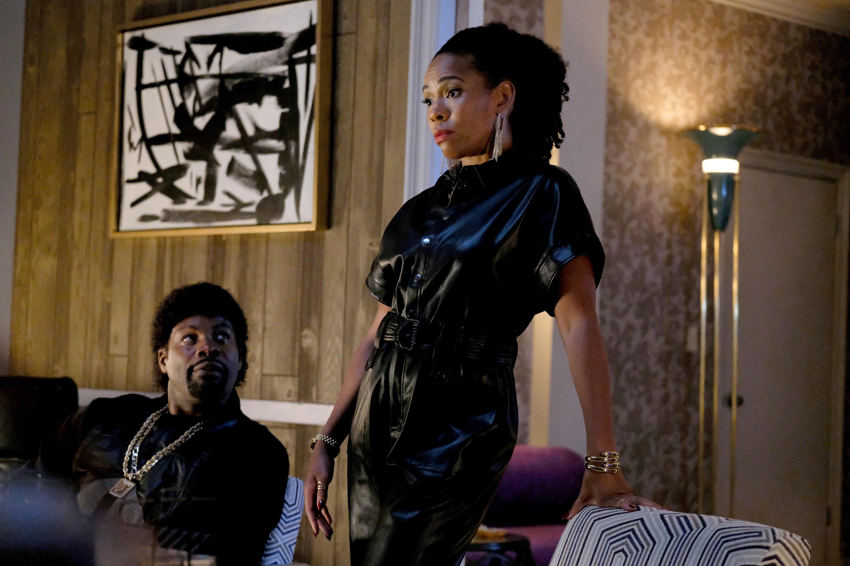 """The Get Back"" -- Season 4, Episode 5 -- Pictured: (l-r) Amin Joseph as Jerome Saint, Angela Lewis as Aunt Louie"
