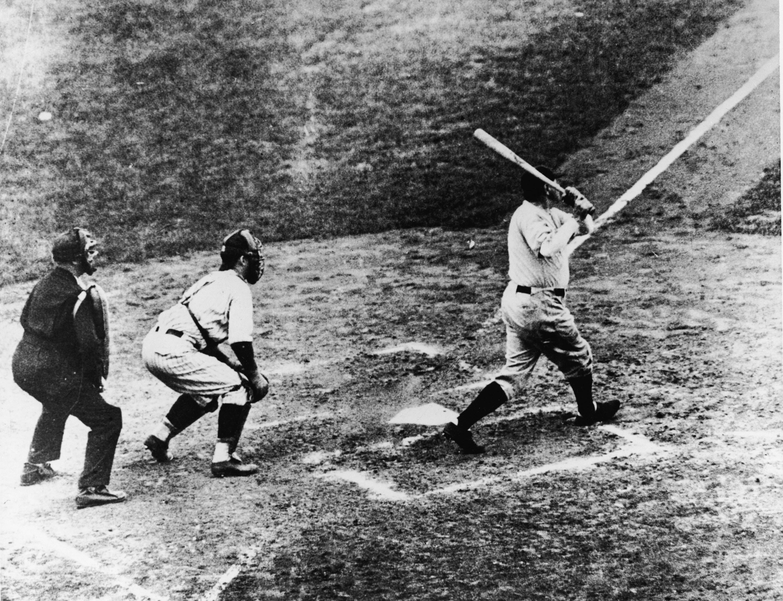 Babe Ruth hitting a home run