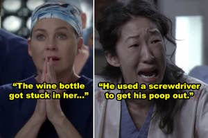 "Side-by-sides of Meredith and Cristina looking shocked in ""Grey's Anatomy"""