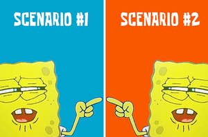 two spongebobs pointing at each other with confusion and doubt