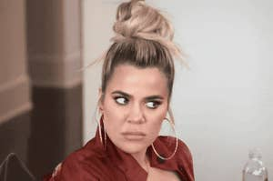 Khloe Kardashian looking annoyed