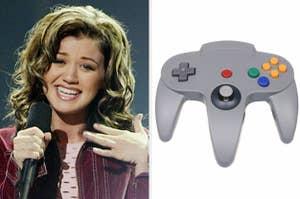 Kelly Clarkson and a Nintendo controller