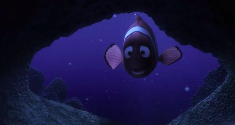 Marlin looking into the cave to see if any of his eggs survived the barracuda attack