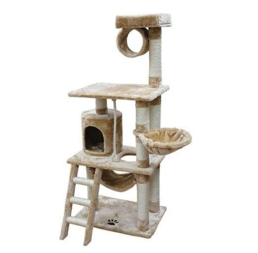The cat mansion with a ladder and multiple platforms in beige