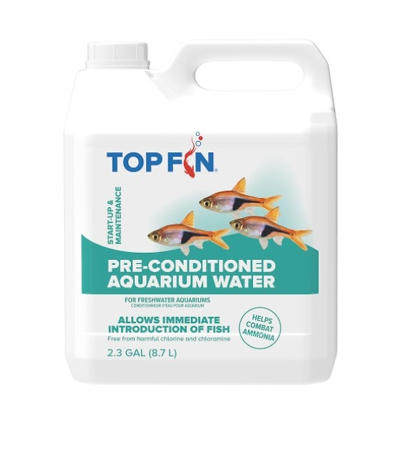 The bottle of pre-conditioned aquarium water in a white package