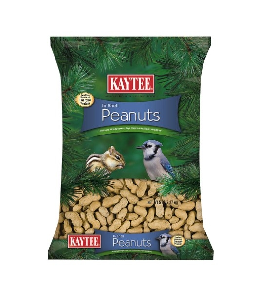 The bag of peanuts in green package featuring a bird and squirrel on the front