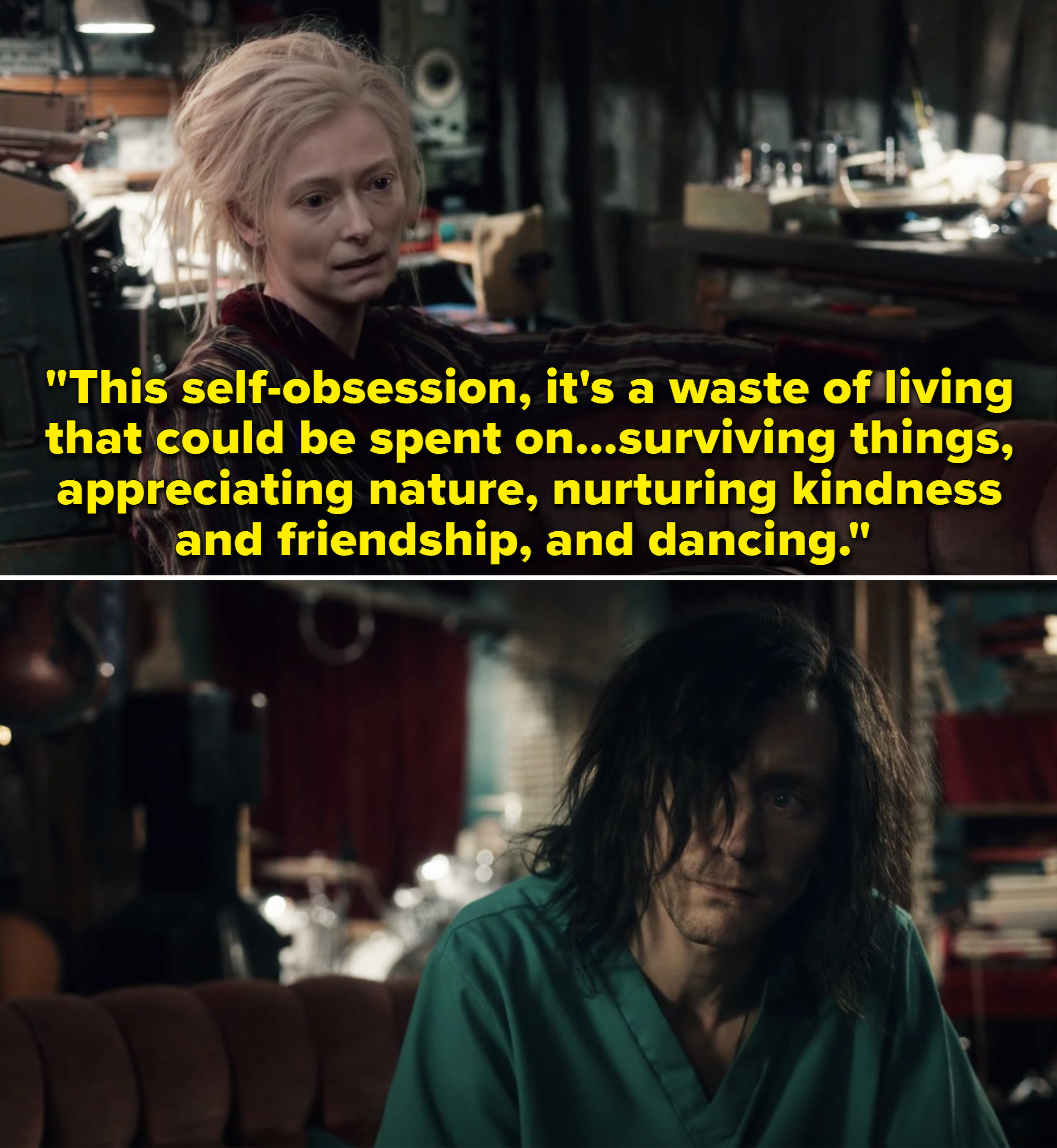 """Eve saying, """"This self-obsession, it's a waste of living that could be spent on surviving things, appreciating nature, nurturing kindness and friendship, and dancing"""""""