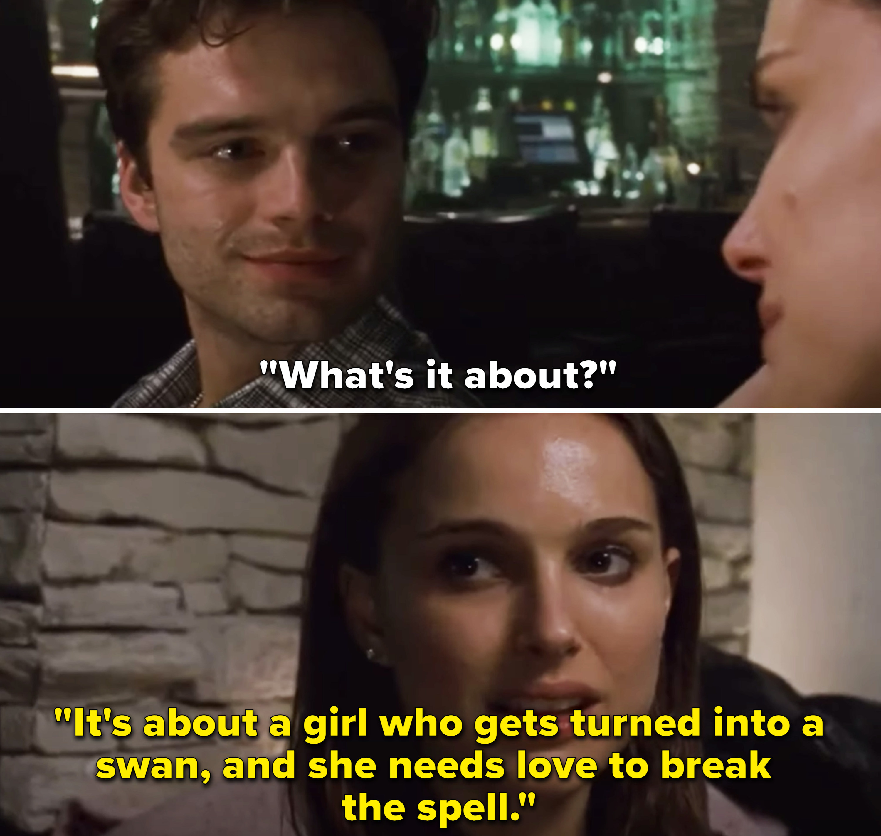 """Nina saying, """"It's about a girl who gets turned into a swan, and she needs love to break the spell"""""""