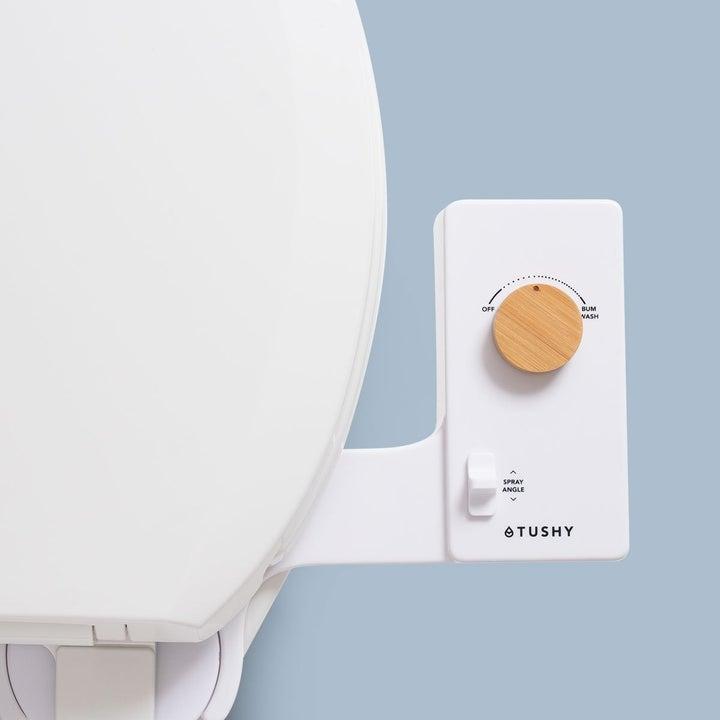 Bidet attachment on toilet bowl