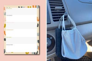 a weekly notepad and car mask holder