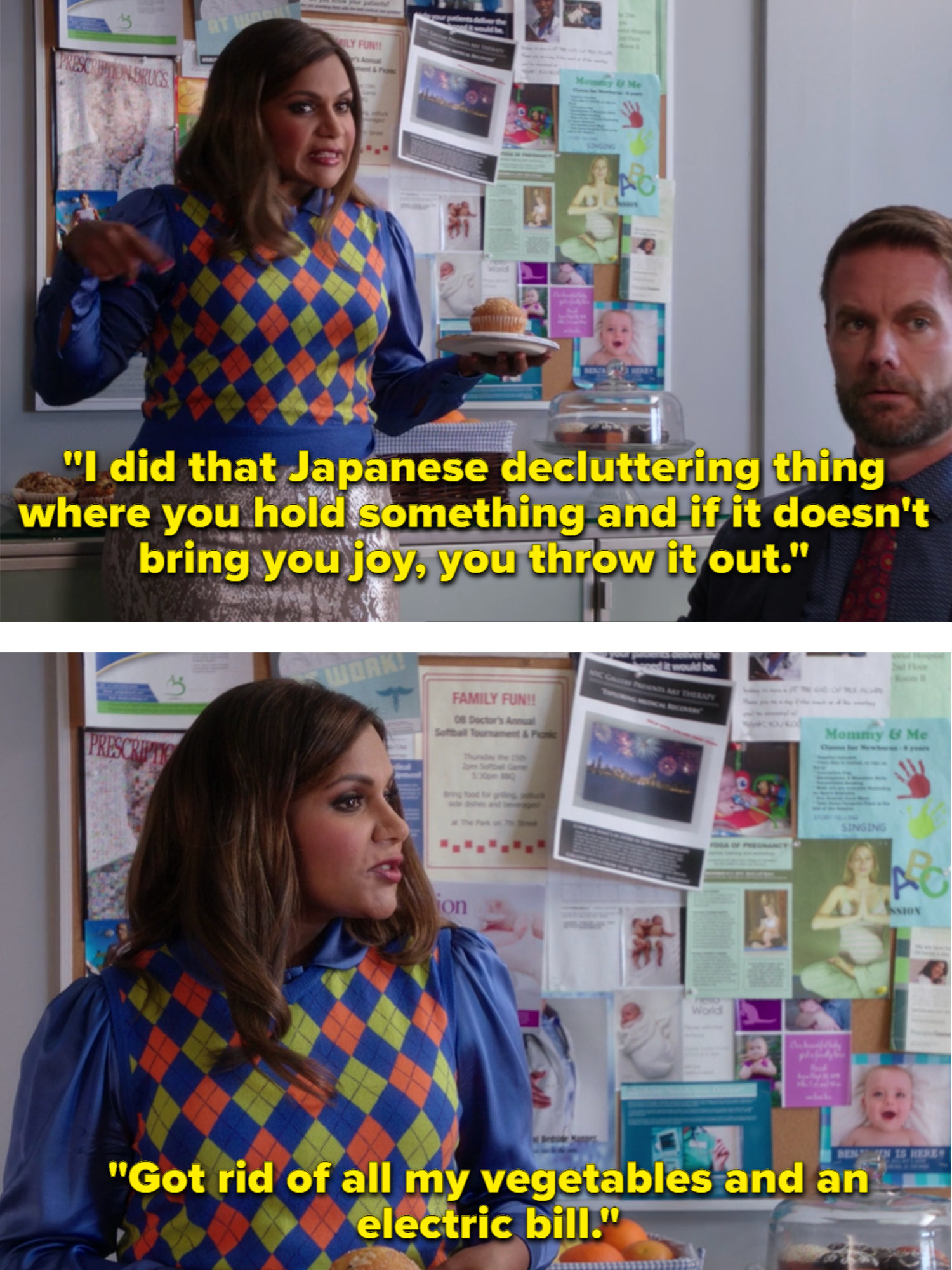 Mindy follows the Japanese decluttering method where you throw out things that don't bring you joy, so Mindy decides to throw out all her vegetables and an electric bill