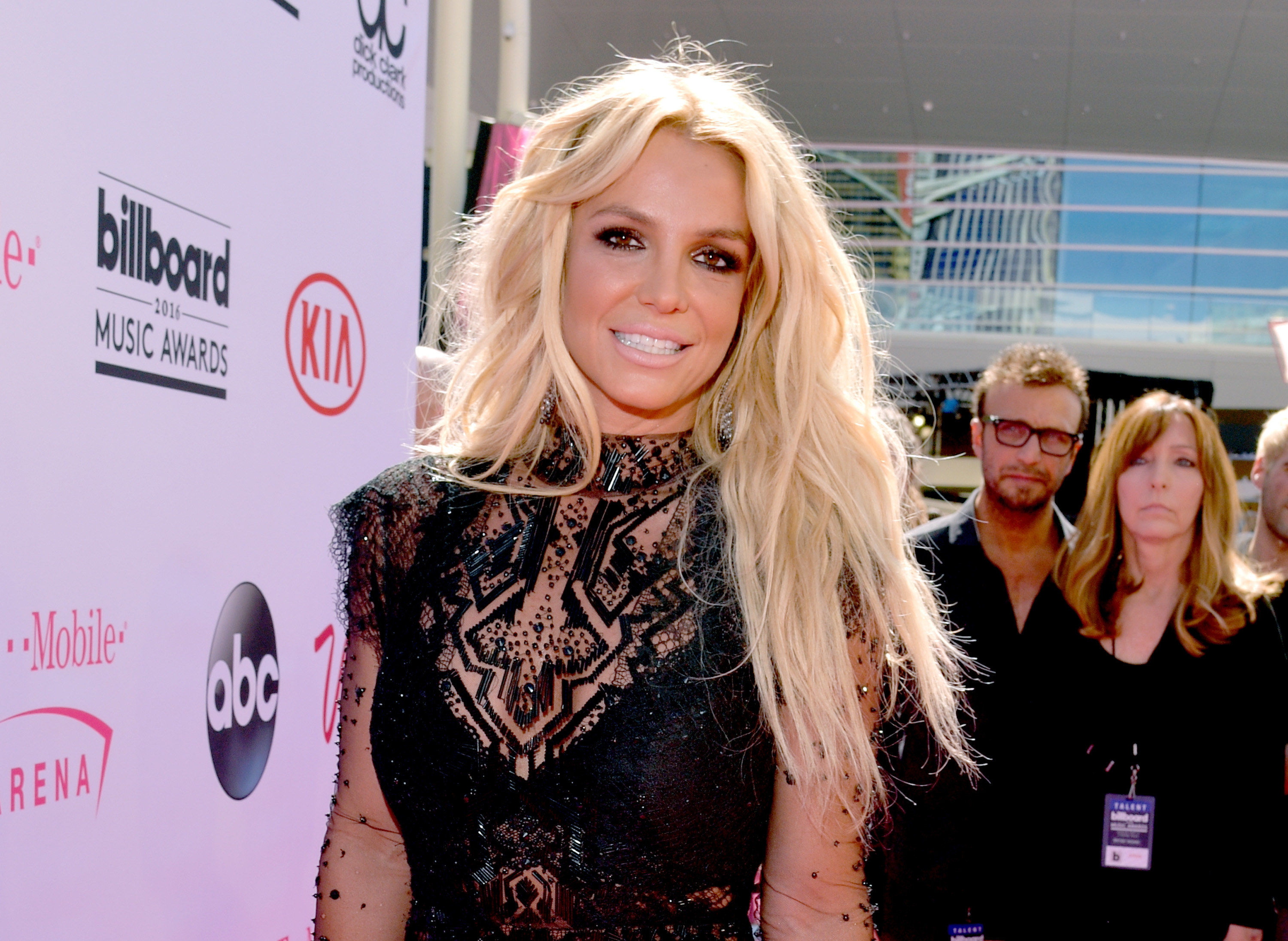 Britney smiles on a red carpet