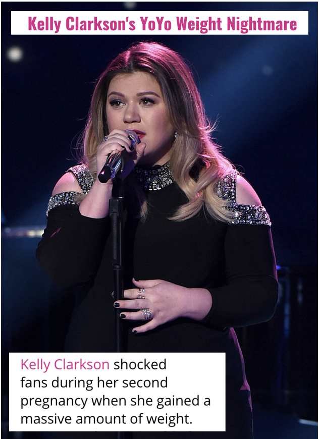 """Kelly Clarkson sings into a mic, and the headlines about her """"yoyo weight nightmare"""" and """"massive amount of weight"""""""
