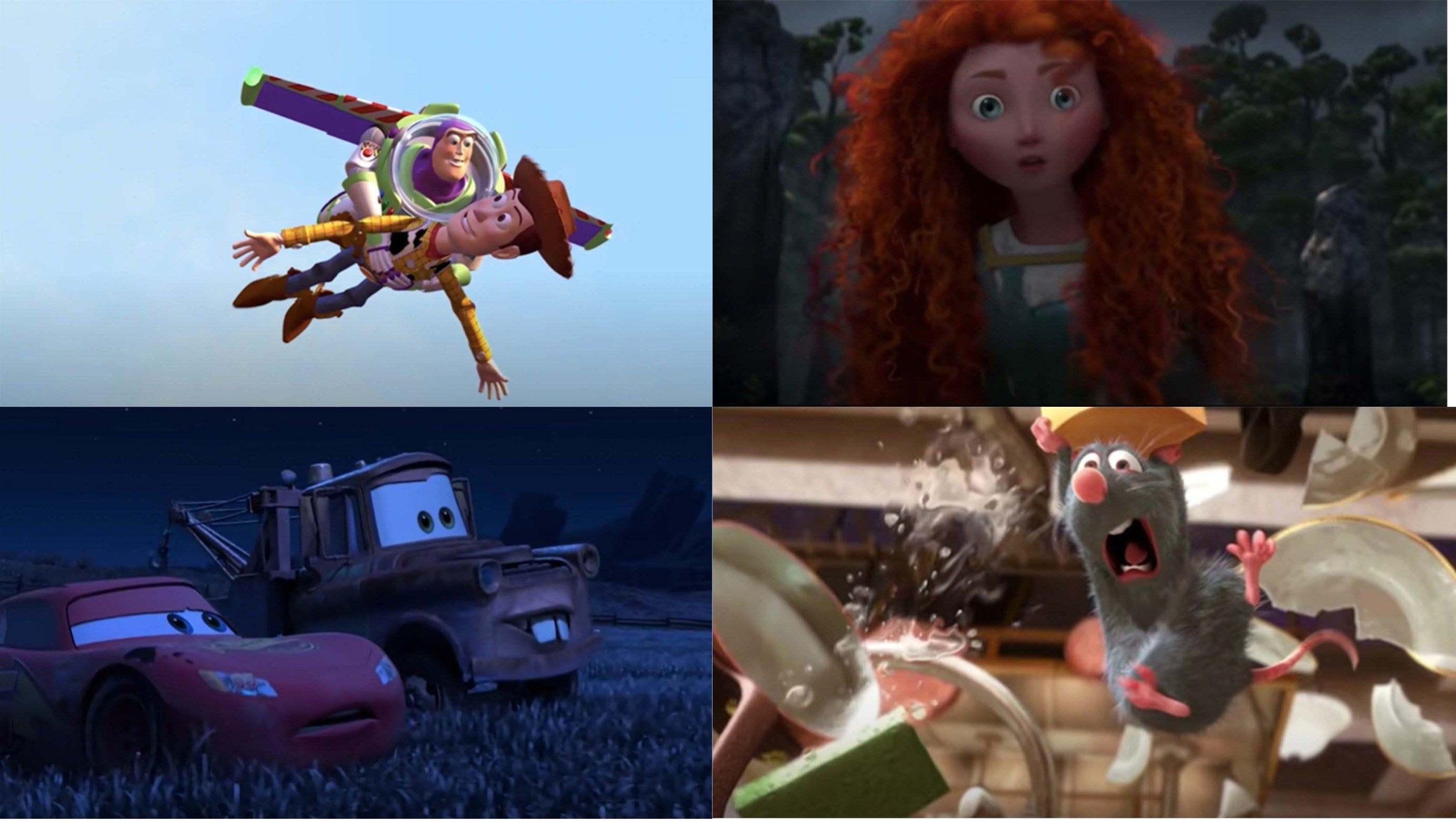 Toy Story, Brave, Cars, and Ratatouille
