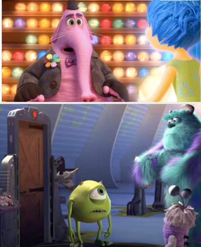 """Bing Bong from """"Inside Out"""" and Mike, Sully, and Boo from """"Monster's, Inc."""""""