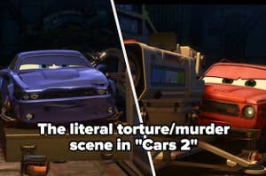 """""""The literal torture/murder scene in 'Cars 2'"""" with a car being questioned and loaded with a combusting material with an activator machine aimed at it"""