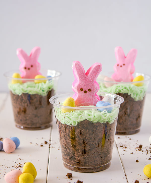Dirt bunny cups with Peeps and M&M's.