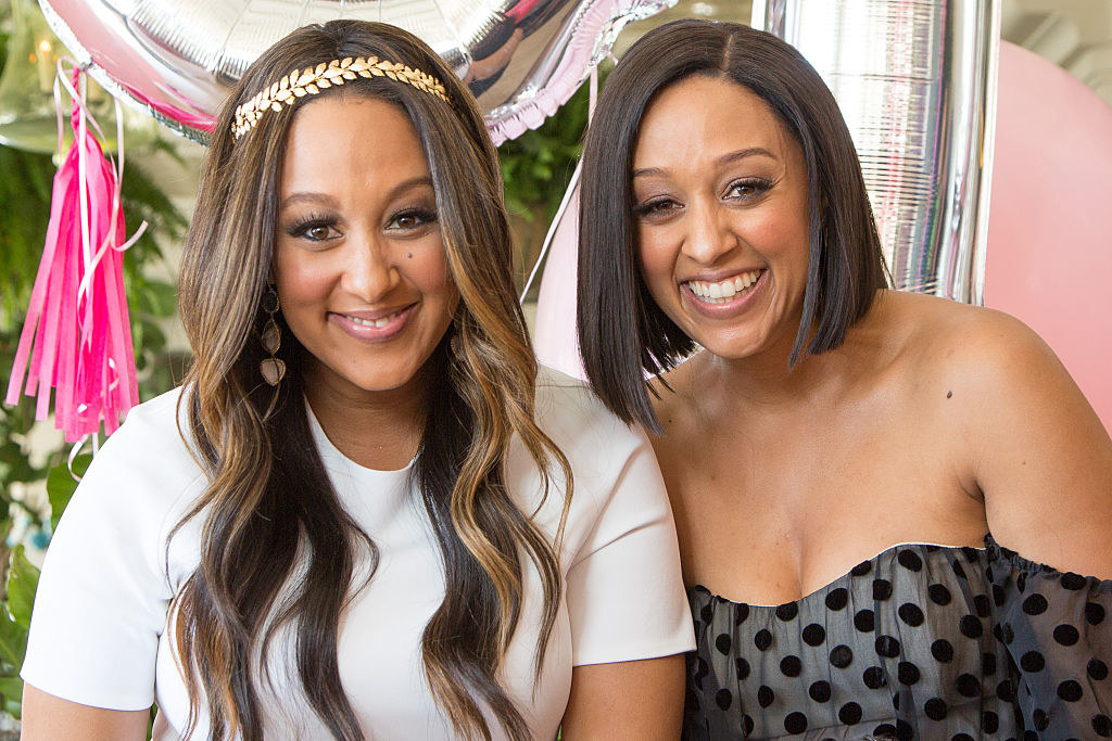 Tamera Mowry-Housley (L) and Tia Mowry attend Tamera Mowry-Housley's baby shower