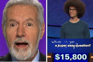 trebek acting surprised and a man answering a question
