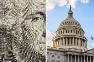 A close-up of a US dollar bill and a view of the US Capitol Building