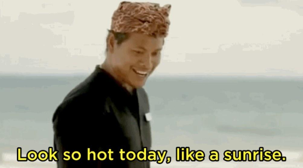 "Ketut says ""look so hot today, like a sunrise"""