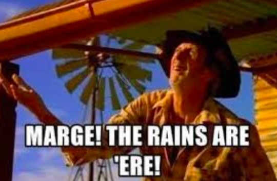 """A man stands on a porch with his hand held out with the caption """"Marge! The rains are 'ere!"""""""