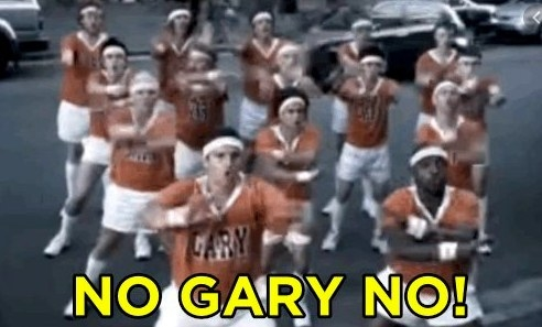 """A football team stands in the street yelling """"no Gary no"""""""